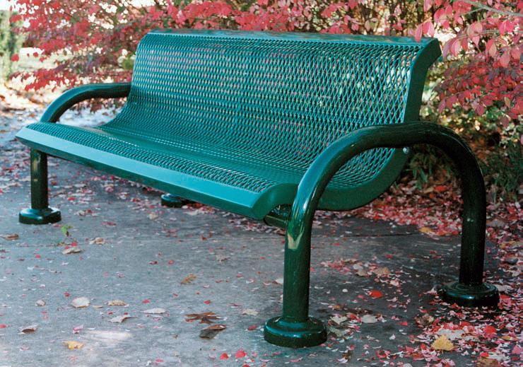 green metal park bench