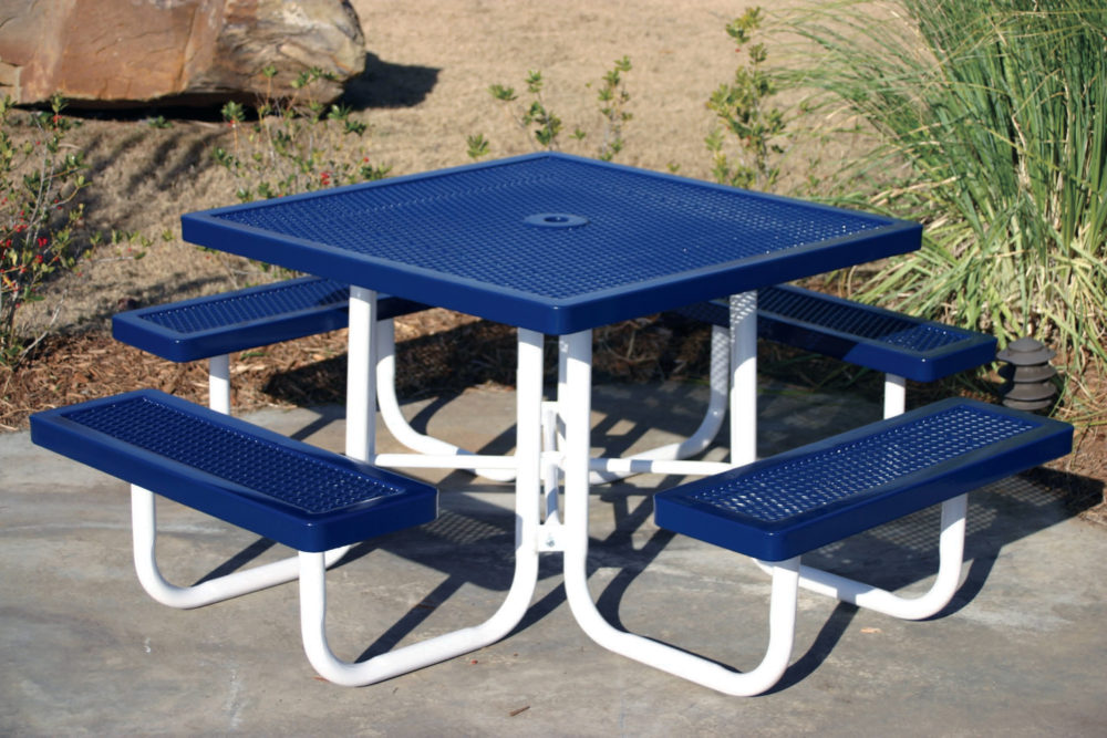 blue metal picnic table